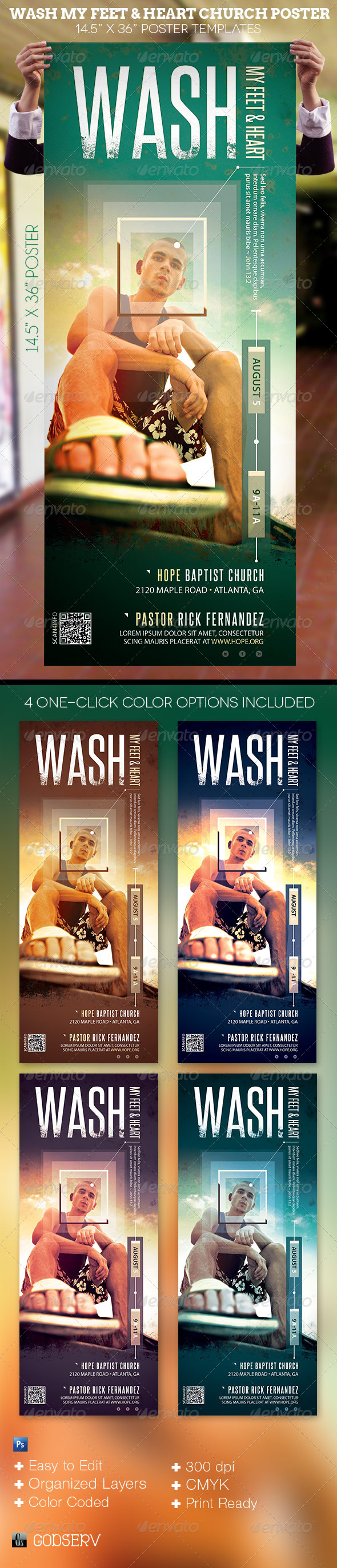 Wash Church Poster Template - Signage Print Templates