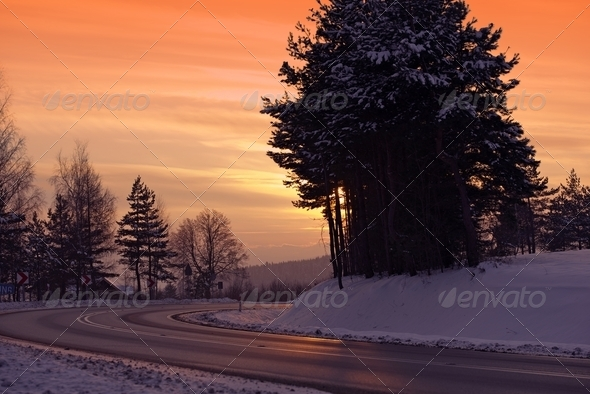 Winter Icy Road - Stock Photo - Images