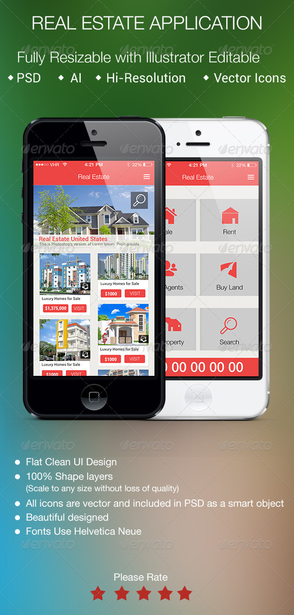 Real Estate Application for Smartphones - User Interfaces Web Elements