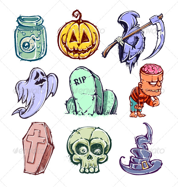 Set of Funny Halloween Characters by Vecster | GraphicRiver