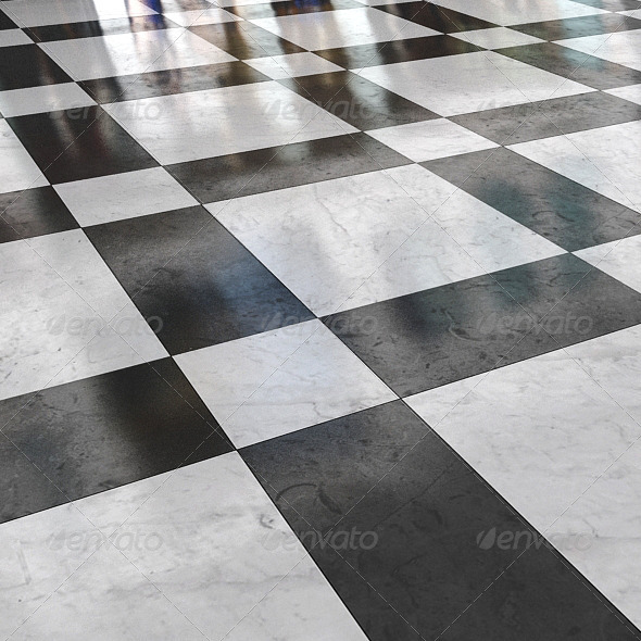 black_&_white_marble_stone_floor_01 - 3DOcean Item for Sale