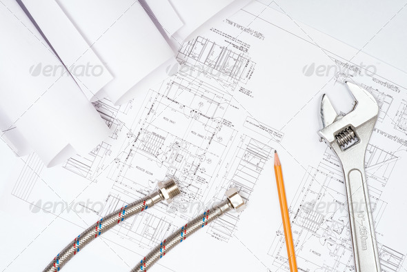 plumbing and drawings, construction still life - Stock Photo - Images