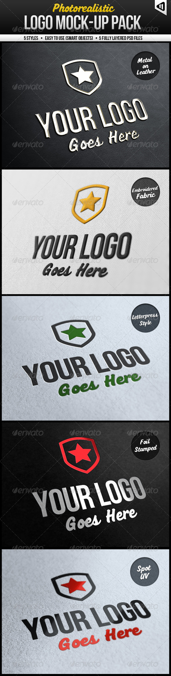 Photorealistic Logo Mock-Up Pack - Logo Product Mock-Ups