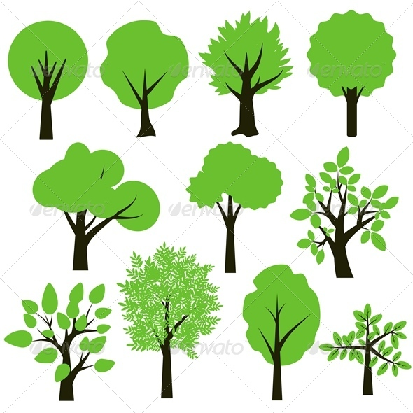 Trees Set By Elyomys Graphicriver