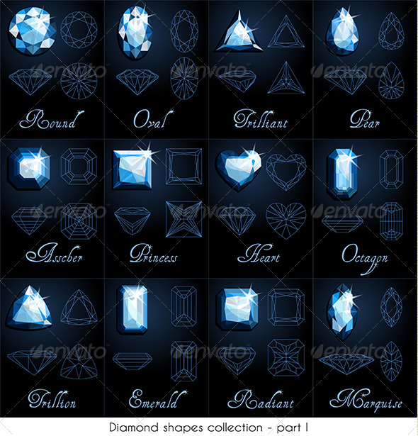Diamond Shapes Collection - Objects Vectors