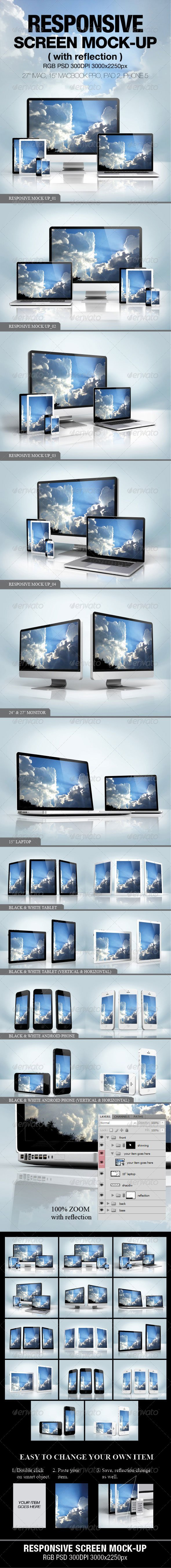 Responsive Screen Mock-up - Multiple Displays