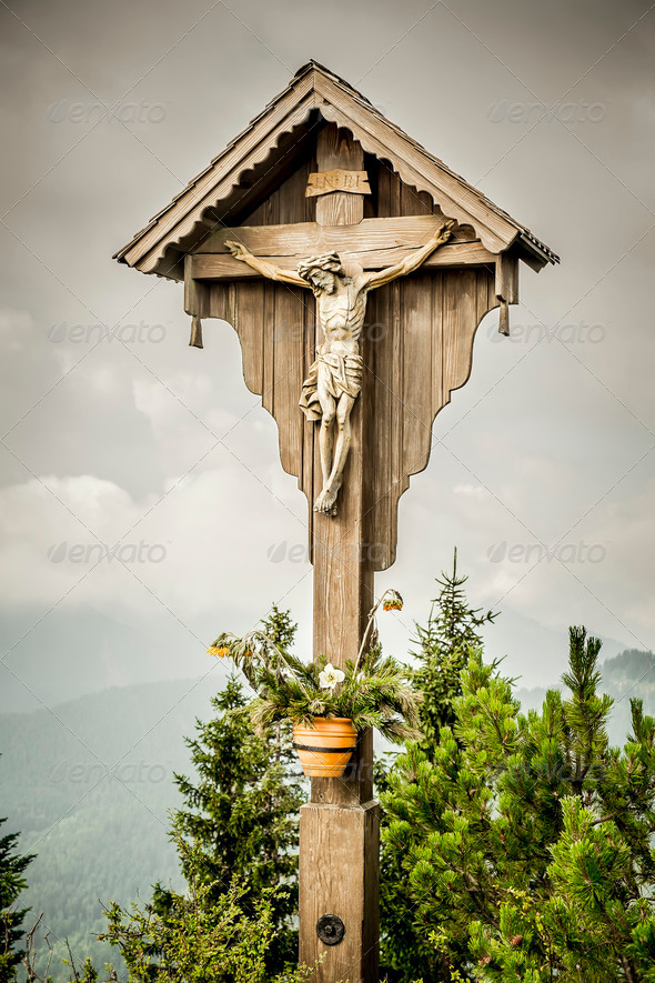 jesus cross herzogstand - Stock Photo - Images