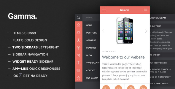 Gamma - Mobile Retina | HTML5 and CSS3 WordPress