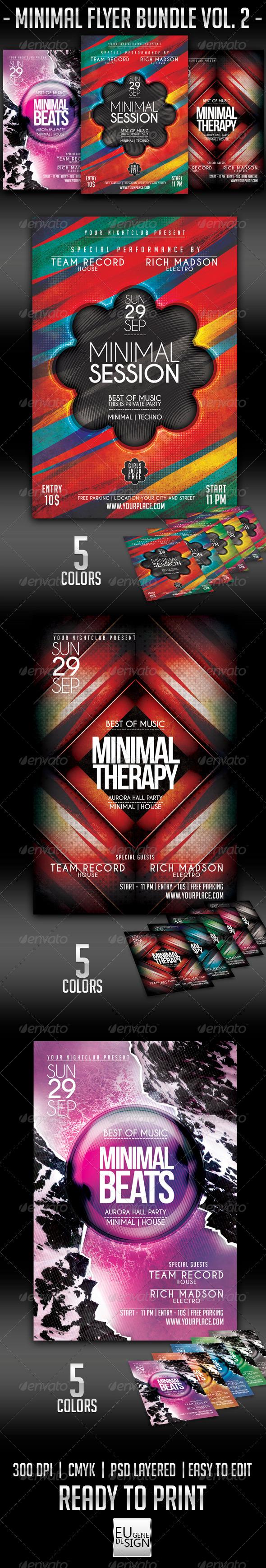 Minimal Flyer Bundle Vol.2 - Clubs & Parties Events