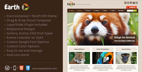 Earth – Eco/Environmental NonProfit WordPress Theme