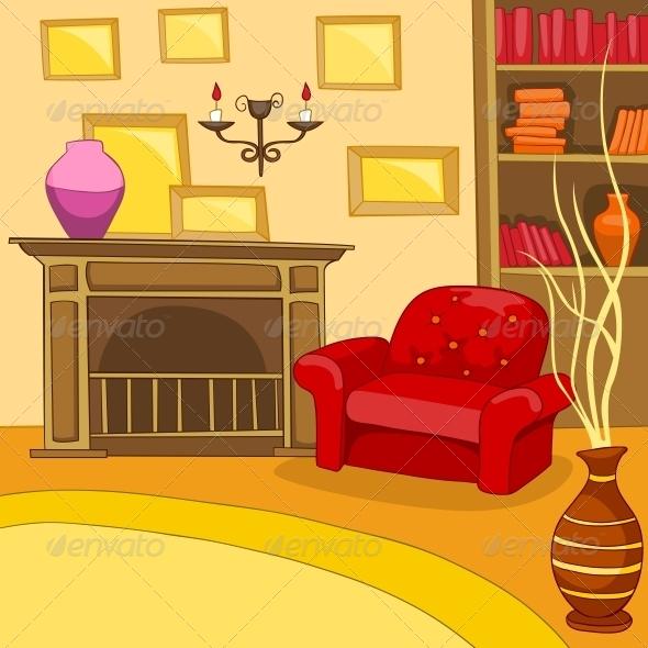 Cartoon Living Room: Room Cartoon. By RAStudio