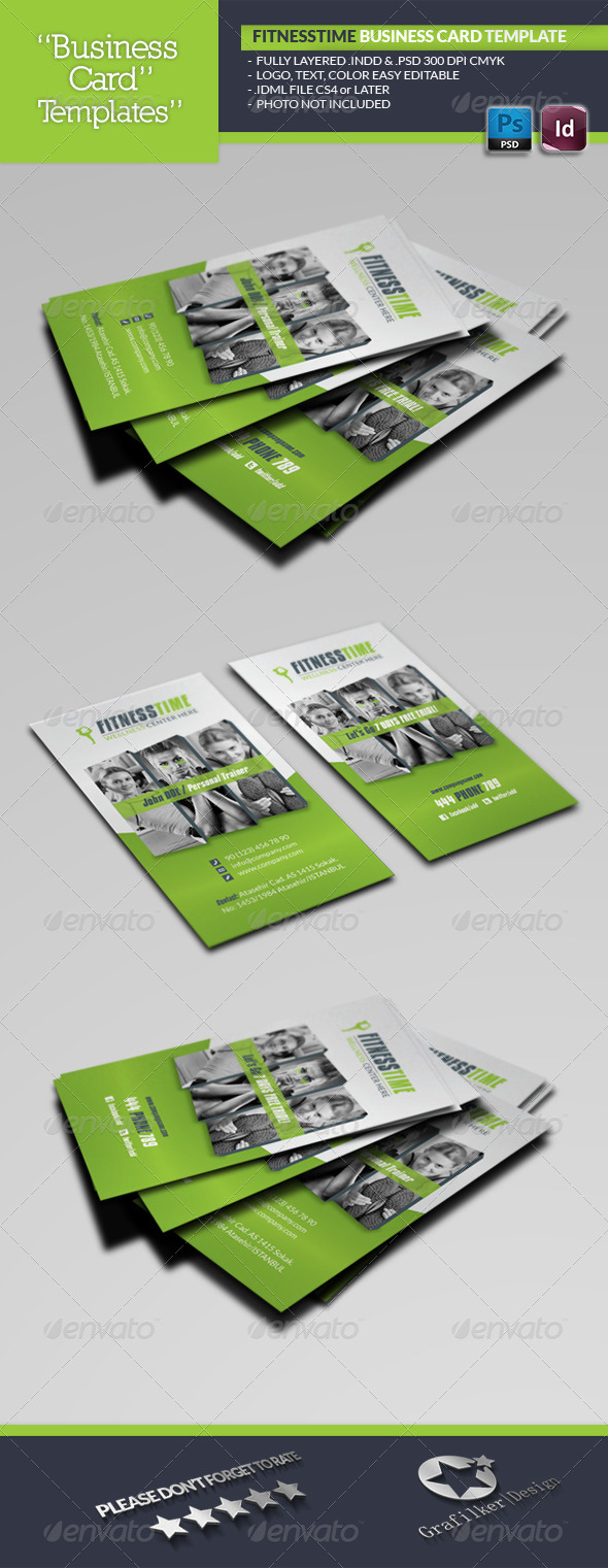 Fitness Time Business Card Template Cards Print Templates
