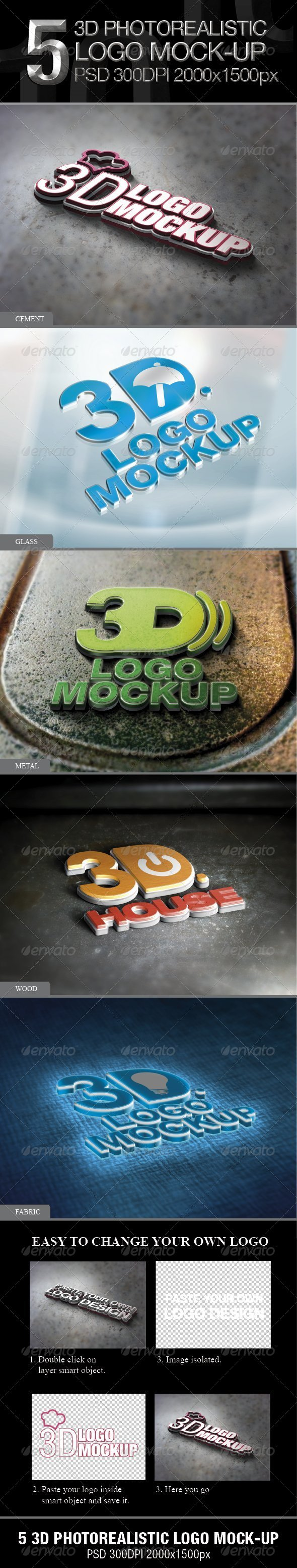 5 3D Photorealistic Logo Mock-up - Logo Product Mock-Ups