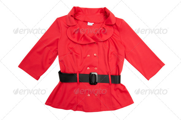 Red  jacket on a white. - Stock Photo - Images