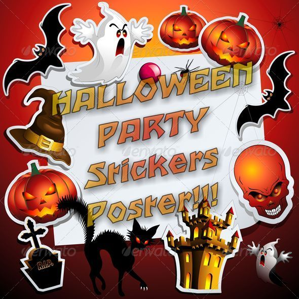 Halloween Party Stickers Poster Frame - Halloween Seasons/Holidays