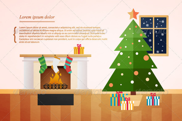 Christmas fir with presents underneath. holiday - Christmas Seasons/Holidays