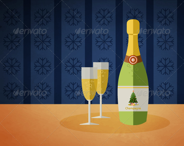 New Year's champagne bottle and two glasses  - New Year Seasons/Holidays