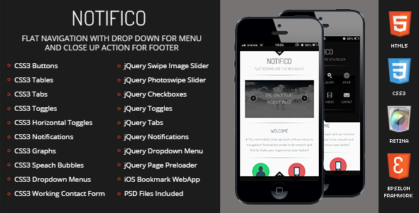 Notifico Mobile | Mobile Template - Mobile Site Templates