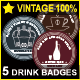 5 Vintage Drink Badges - GraphicRiver Item for Sale