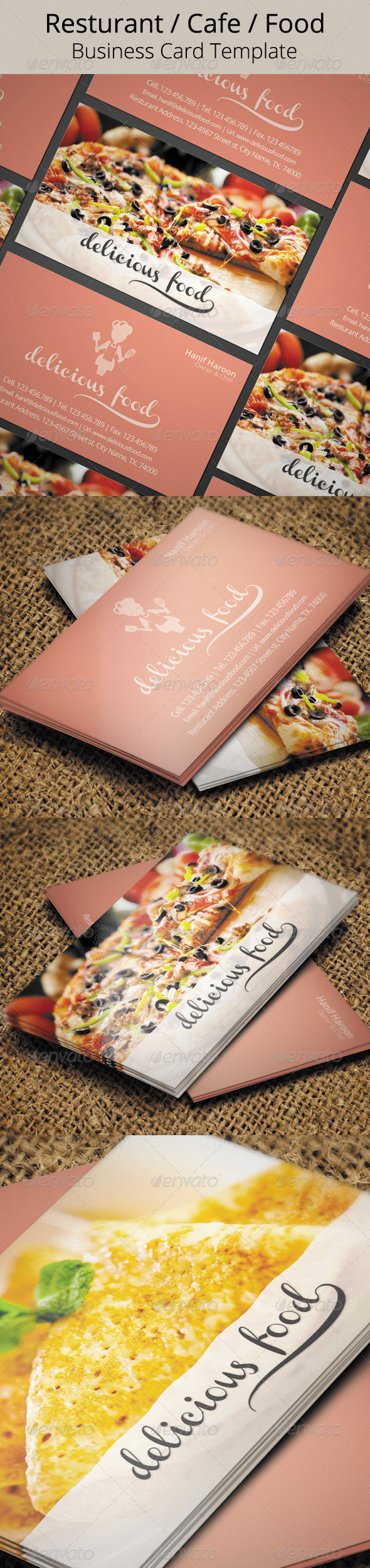 Delicious Food Business Card - Industry Specific Business Cards