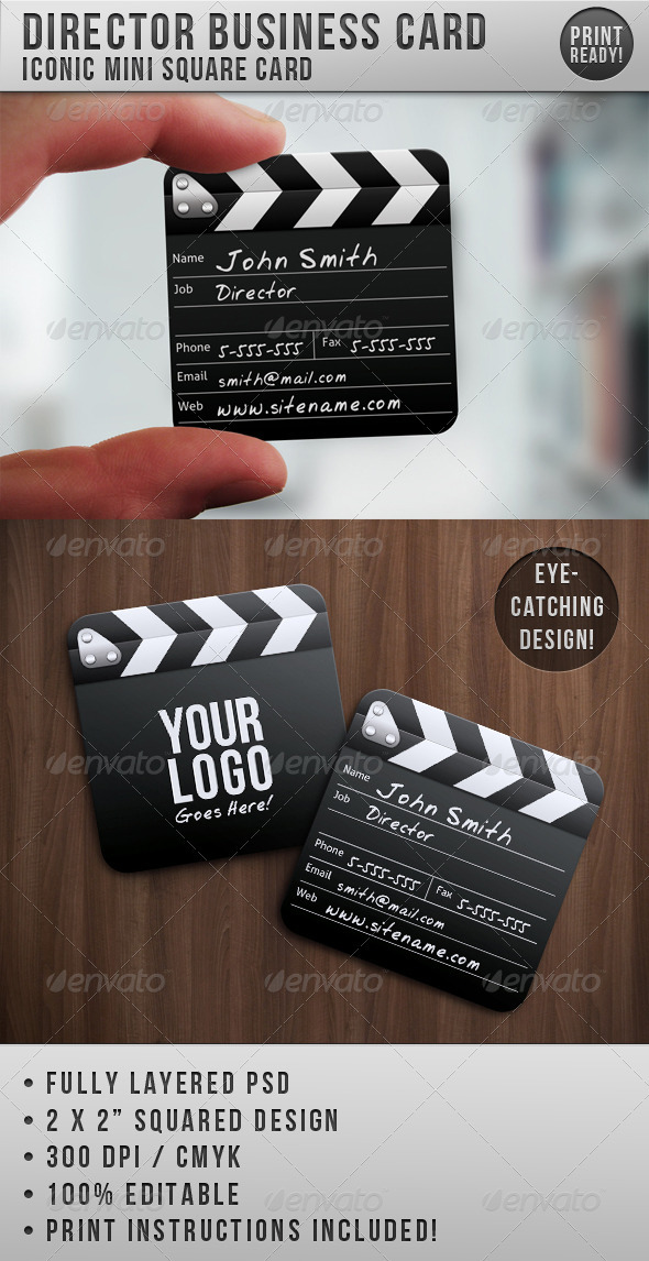 Director Mini Squared Business Card - Business Cards Print Templates