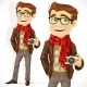 Hipster Guy Wearing a Scarf and with Camera - GraphicRiver Item for Sale