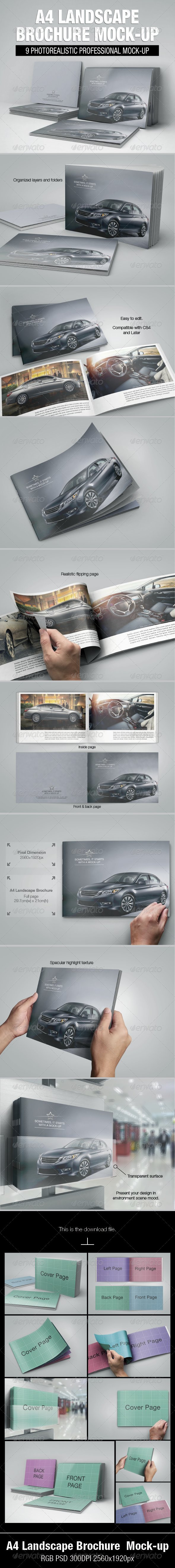 A4 Landscape Brochure Mock-up - Brochures Print