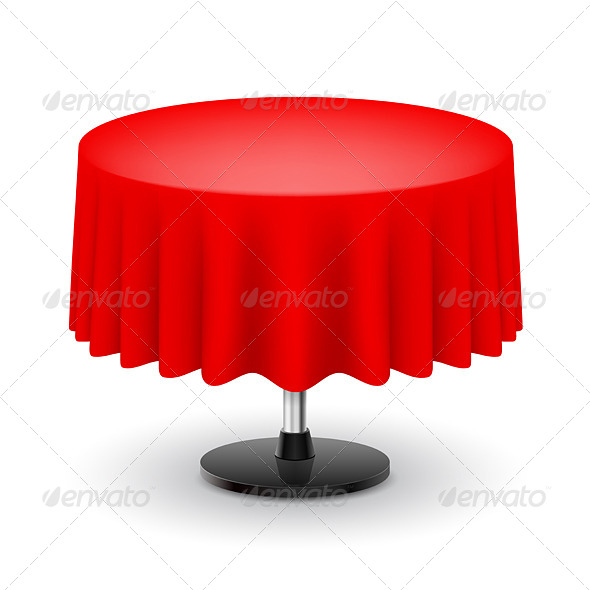 Round Table With Red Cloth.   Decorative Symbols Decorative