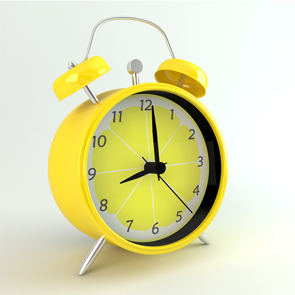 Photo-real Retro Coloured Alarm Clock - 3DOcean Item for Sale