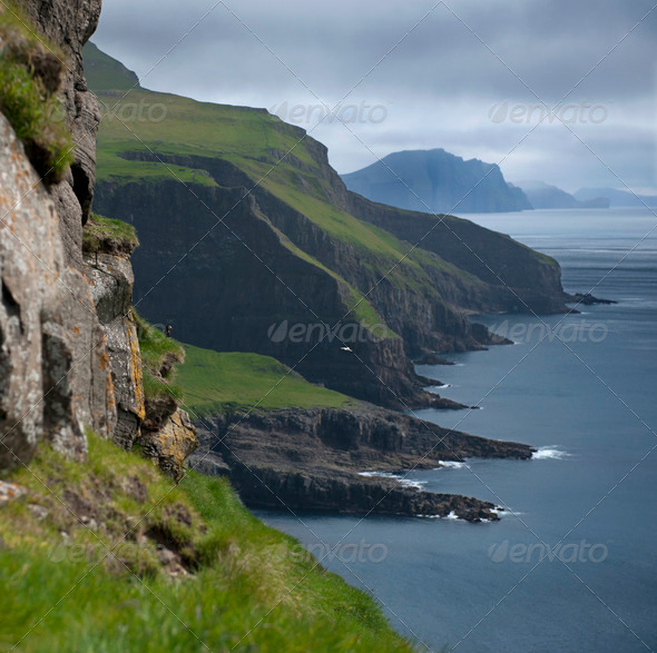 Scenic view of Mykines, Faroe Islands - Stock Photo - Images