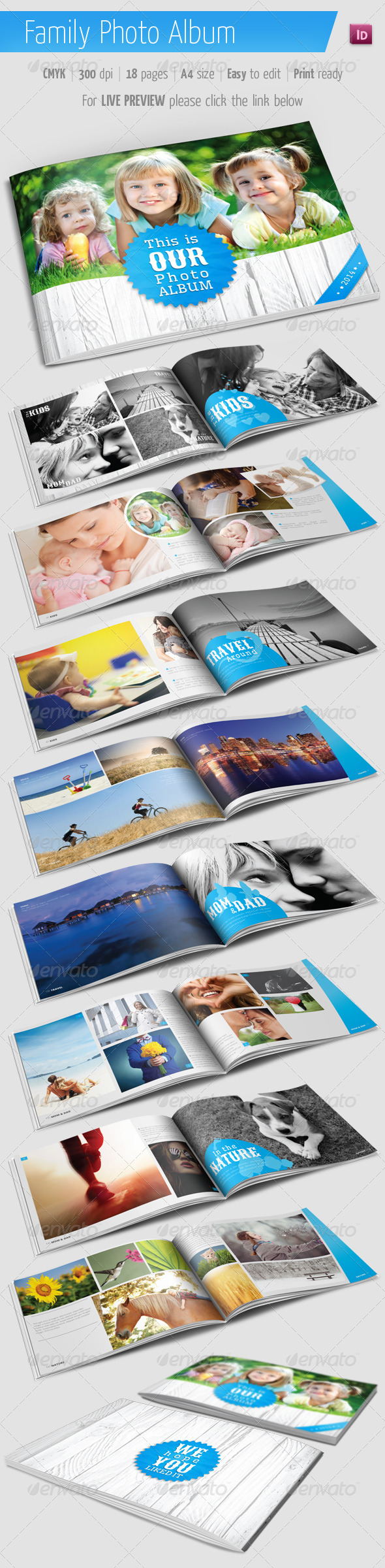 Family Photo Album for Indesign - Photo Albums Print Templates