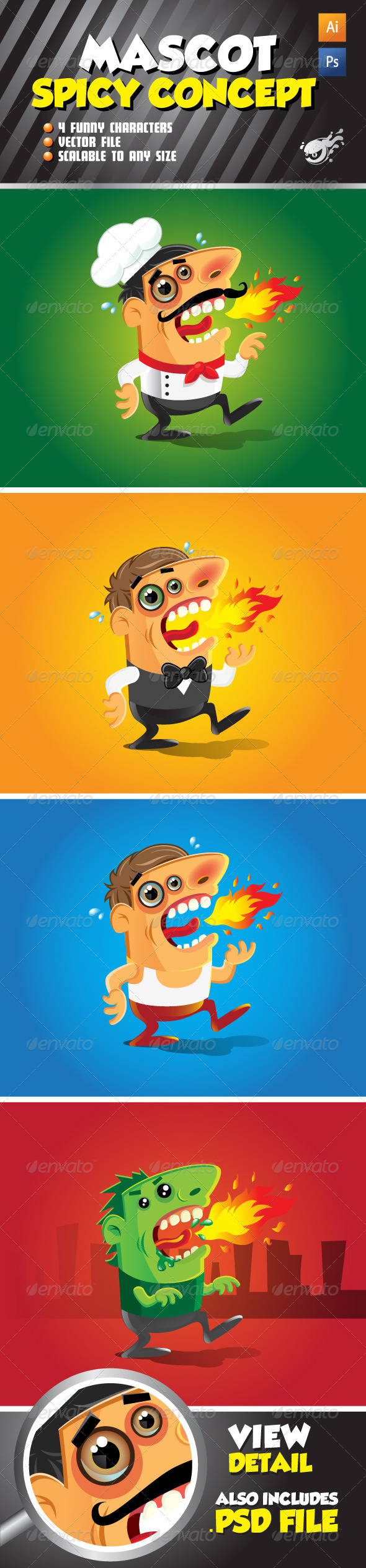 Character Mascot - Spicy Concept Set - People Characters