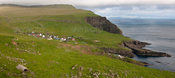Village of the Island Mykines, Faroe Islands - Stock Photo - Images