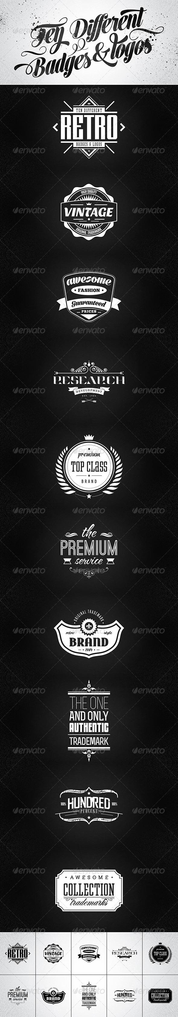 10 Retro Badges & Logos vol.2 - Badges & Stickers Web Elements
