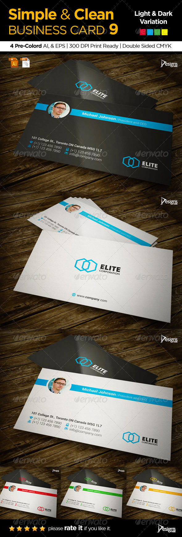 Simple and Clean Business Card 9 - Corporate Business Cards