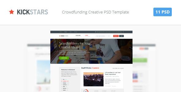 Kickstars – Crowdfunding PSD Template