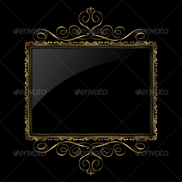 Decorative black and gold background - Backgrounds Decorative