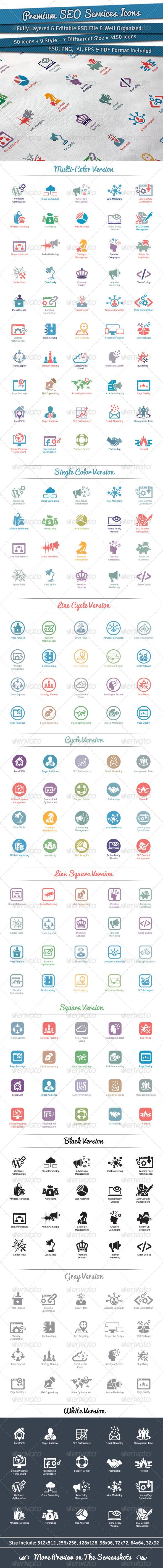 Premium SEO Services Icons - Web Icons