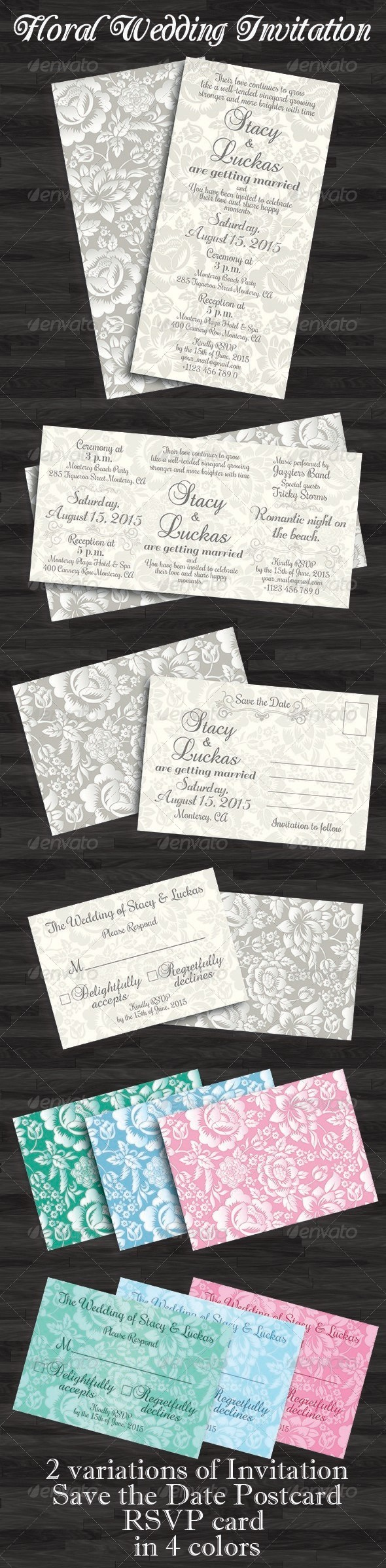 Floral Wedding Invitation, Save the Date & RSVP