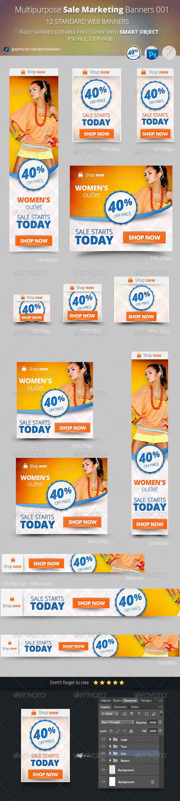 Multipurpose Sale Marketing Banners 001 - Banners & Ads Web Elements