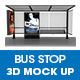 Bus Stop Ad Panel 3D Mockup
