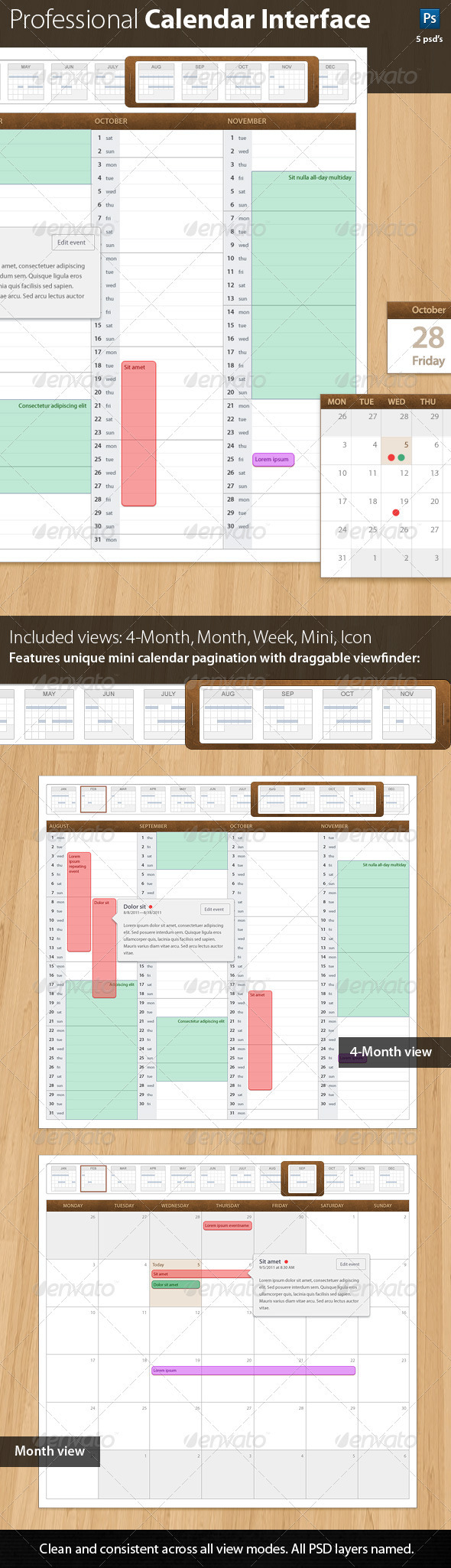 Leatherbound 1.0 Professional Calendar Template - User Interfaces Web Elements