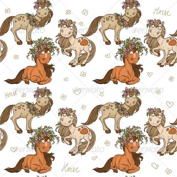 Seamless Pattern with Cartoon Horses - Animals Characters
