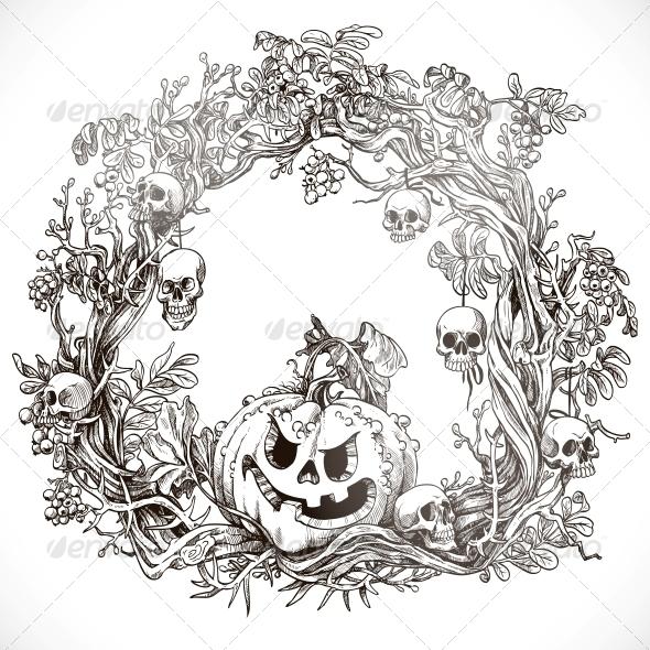 Festive Decorative Halloween Wreath  - Halloween Seasons/Holidays