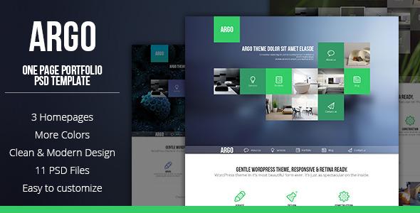 Argo – One Page Portfolio PSD Template