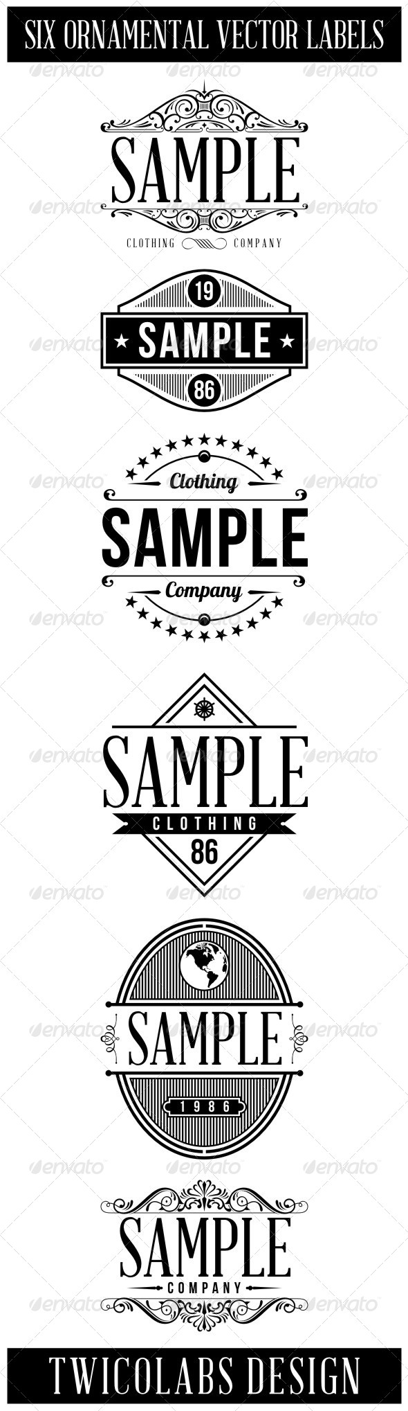 6 Vintage Labels - Badges & Stickers Web Elements
