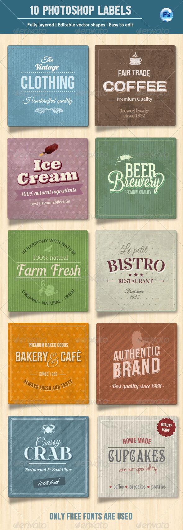 10 Retro Labels / Badges - Miscellaneous Web Elements