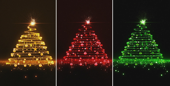Gold Red And Green Glowing Christmas Tree By Marianst