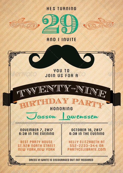 Funny Mustache-Birthday Invitation Card by katzeline | GraphicRiver