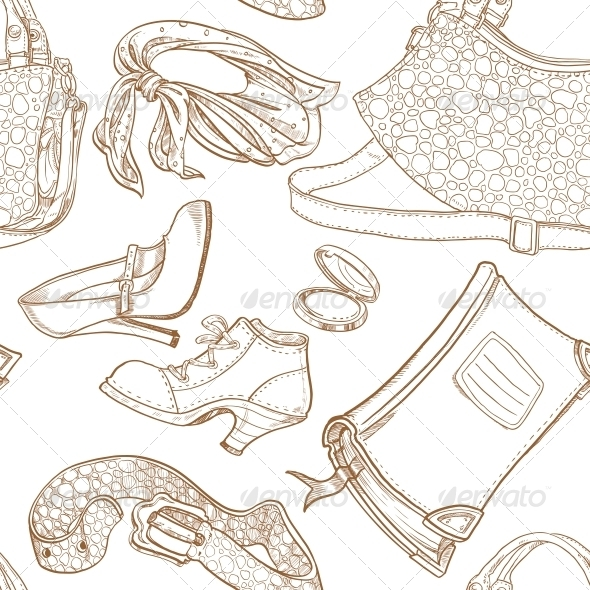 Seamless Pattern of Feminine Fashion Objects - Patterns Decorative